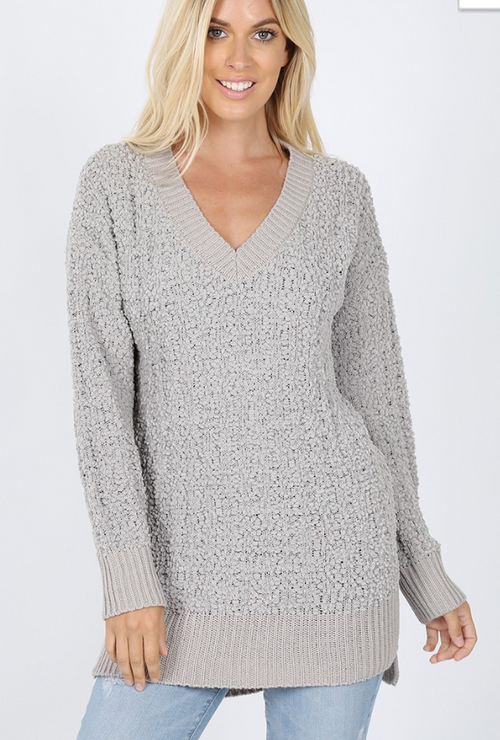 black friday v-neck popcorn sweater - grey