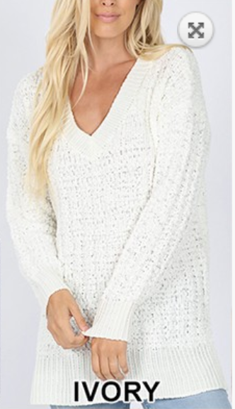 black friday v-neck popcorn sweater - ivory