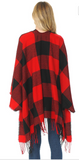 Plaid Shawl Poncho- Red/Black