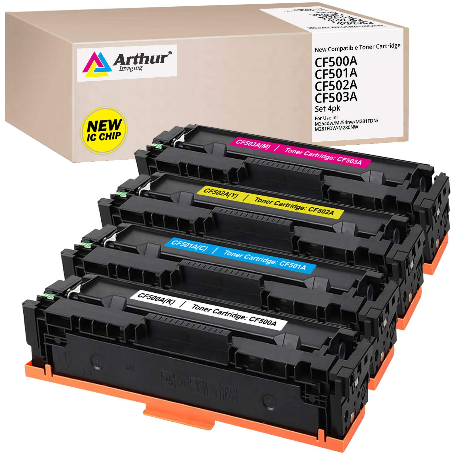 Arthur Imaging Compatible Toner Cartridge Replacement for  HP 202X CF500A CF500X 202A (4 Pack)