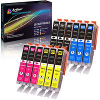 Arthur Imaging Compatible Ink Cartridge Replacement for Canon 251XL (3 Black, 3 Cyan, 3 Yellow, 3 Magenta, 12-Pack)