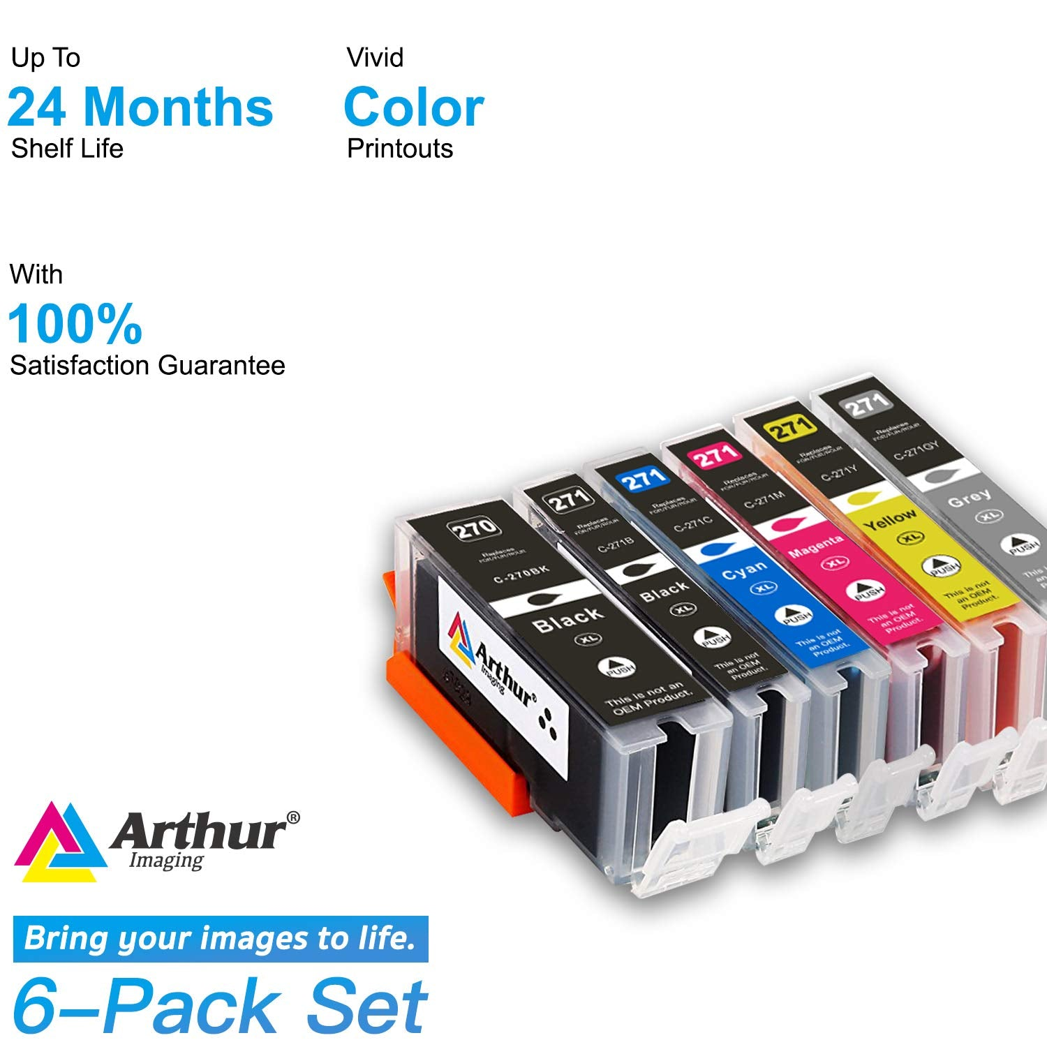 Arthur Imaging Compatible Ink Cartridge Replacement for Canon PGI-270XL CLI-271XL (1 Large Black, 1 Small Black, 1 Cyan, 1 Yellow, 1 Magenta, 1 Gray, 6-Pack)