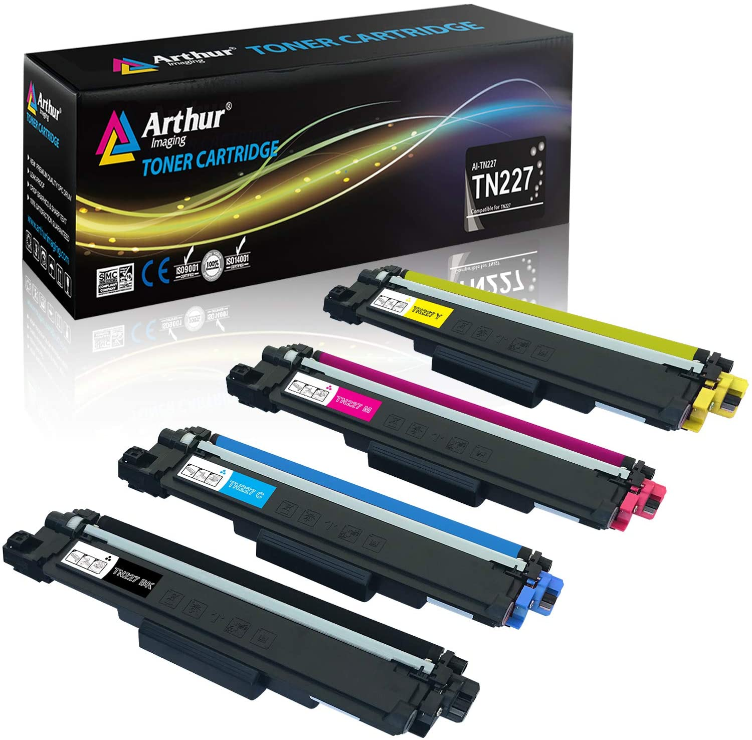 Arthur Imaging Compatible Toner Cartridges Replacement for Brother TN227 (Black, Cyan, Yellow, Magenta, 4-pack)
