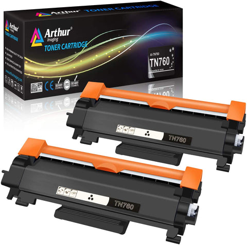Arthur Imaging Compatible High Yield Toner Cartridge Replacement for Brother TN730 TN760 With IC Chip (Black, 2-Pack)