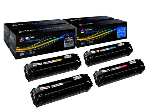Arthur Imaging Compatible Toner Cartridge Replacement for HP 131A CF210A, CF211A, CF212A, CF213A (Black, Cyan, Yellow, Magenta, 4-Pack)