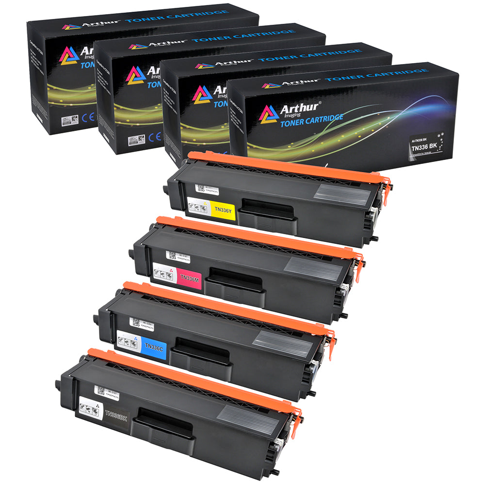 Arthur Imaging Compatible High Yield Toner Cartridge Replacement for Brother TN336 (Black, Cyan, Yellow, Magenta, 4-Pack)