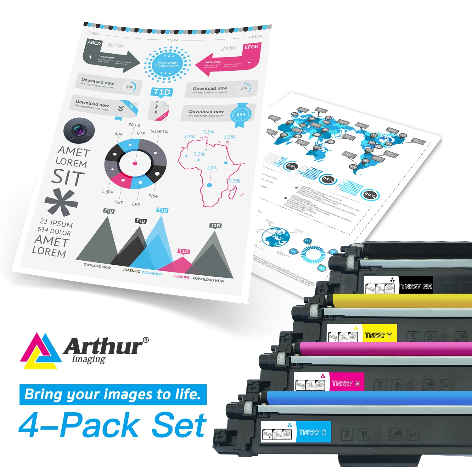 Arthur Imaging Compatible Toner Cartridge Replacement for Brother TN223 TN227 (1 Black, 1 Cyan, 1 Yellow, 1 Magenta, 4-Pack)