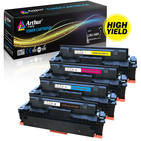 Arthur Imaging Compatible replacement for Canon 046H CRG 046 High Yield Cartridge (1 Black,1 Cyan,1 Magenta, 1 Yellow, 4-Pack)