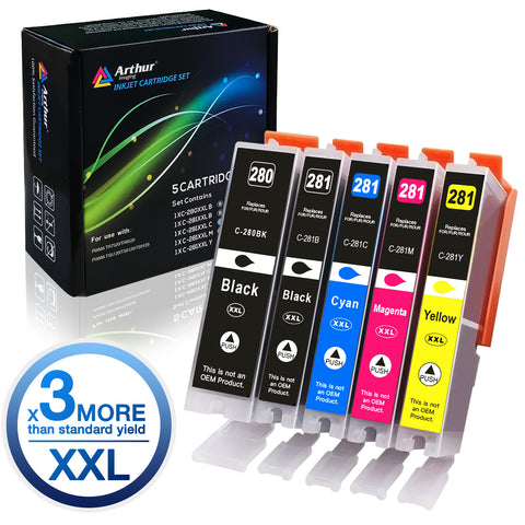 Arthur Imaging Compatible Ink Cartridge Replacement for PGI280XXL CLI281XXL (1 Large Black, 1 Small Black, 1 Cyan, 1 Yellow, 1 Magenta, 5-Pack)