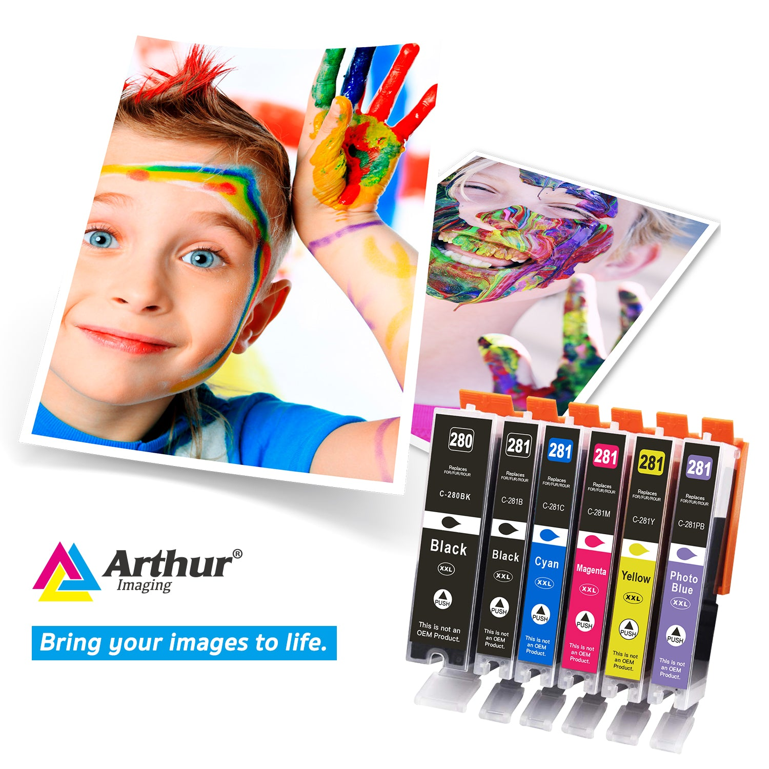 Arthur Imaging Compatible Ink Cartridge Replacement for PGI280XXL CLI281XXL (1 Large Black, 1 Small Black, 1 Cyan, 1 Yellow, 1 Magenta, 1 Photo blue, 6-Pack)
