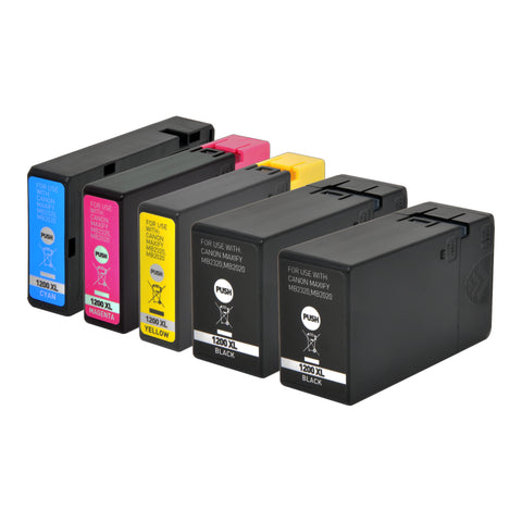 Arthur Imaging Compatible Ink Cartridge Replacement for Canon PGI-1200XL (2 Black, 1 Cyan, 1 Magenta, 1 Yellow, 5-Pack)