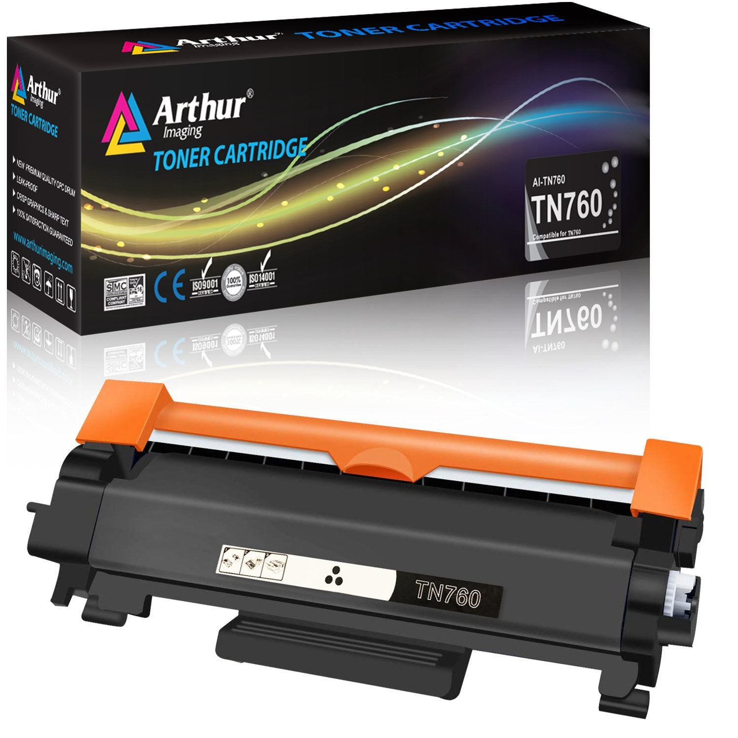 Arthur Imaging Compatible High Yield Toner Cartridge Replacement for Brother TN730 TN760 With IC Chip (Black, 1-Pack)