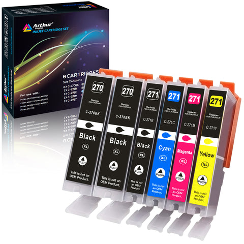 Arthur Imaging Compatible Ink Cartridge Replacement for 270XL 271XL (2 Large Black, 1 Small Black, 1 Cyan, 1 Yellow, 1 Magenta, 6-Pack)