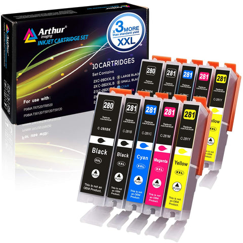 Arthur Imaging Compatible Ink Cartridge Replacement for PGI280XXL CLI281XXL (10 Pack)