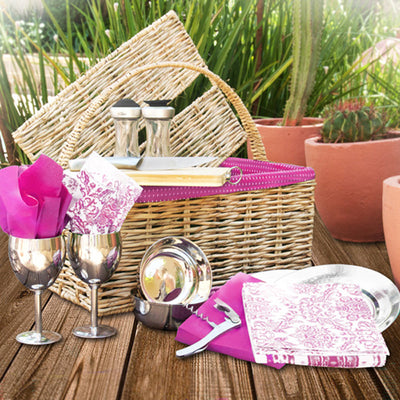 Hand woven straw picnic basket lined with pink Shwe Shwe material