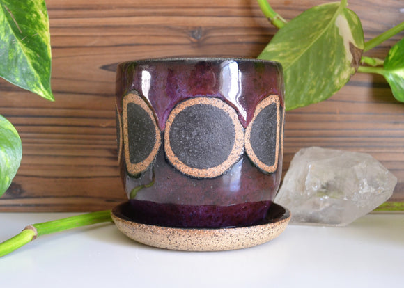 Moon Phase Planter • Cosmic Plum Glaze • Small Planter w/ Attached Drainage Dish