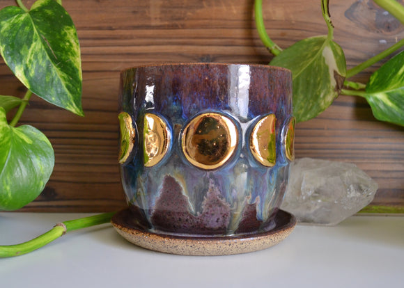 Gold Moon Phase Planter • Purple Haze Glaze • Medium Planter w/ Attached Drainage Dish