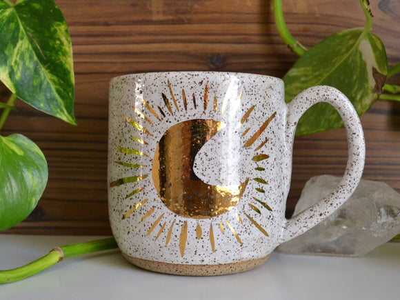 Gold Crescent Moon Mug • Snow Glaze • 20 oz Mug
