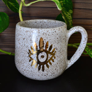 Golden Third Eye Mug • Snow Glaze • 14 fl oz