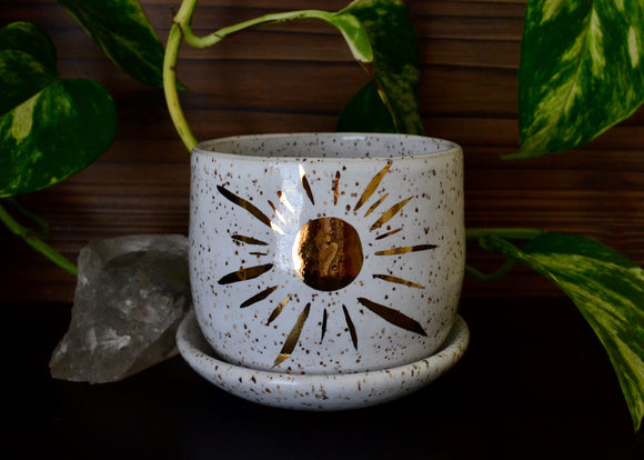 Golden Shining Sun • Snow Glaze • Small Planter + Dish