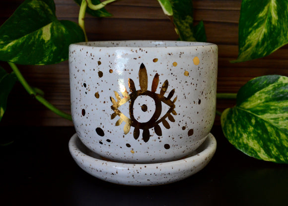 Golden Third Eye • Snow Glaze • Medium Planter + Dish
