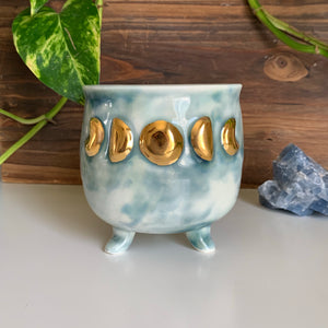Moon Phase Cauldron Planter • Gold Raised Design • Ice Watercolor Glaze • Drainage Hole