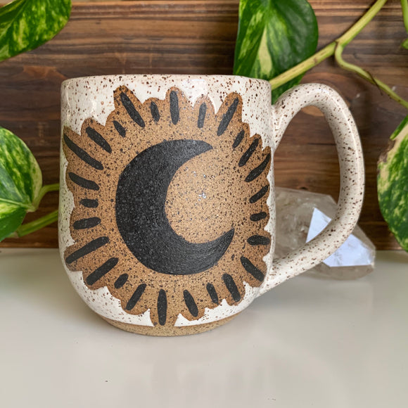 Crescent Moon • Exposed Design • Snow Glaze • 16 fl oz