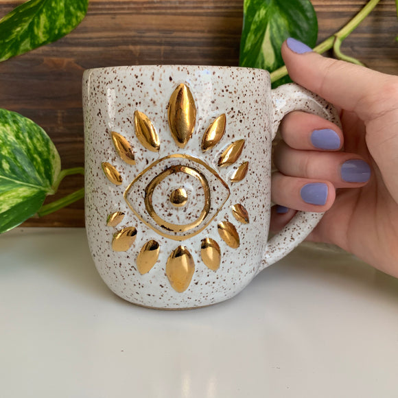 Third Eye Mug • Gold Raised Design • Snow Glaze • 13 fl oz