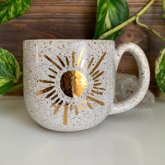 Shining Sun Mug • Gold Painted Design • Snow Glaze • 15 fl oz