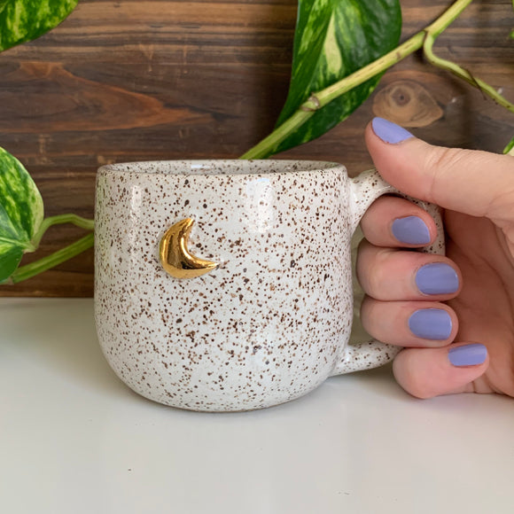 Mini Moon Mug • Gold Raised Design • Snow Glaze • 10 fl oz