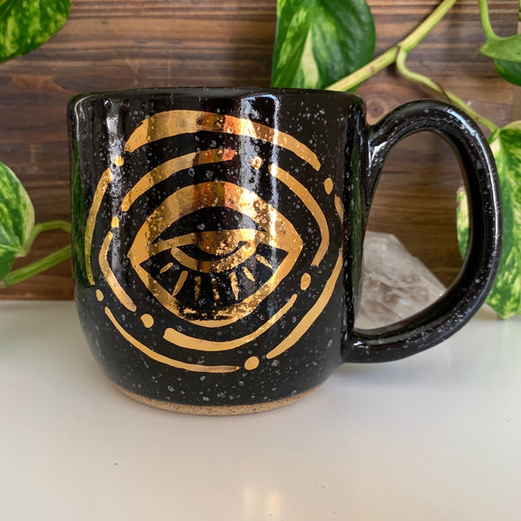 Eye Orbit Mug • Gold Painted Design • Raven Glaze • 20 fl oz