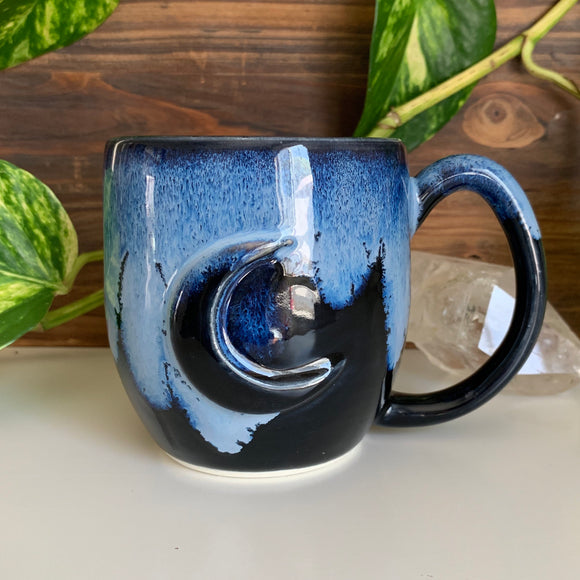 Crescent Moon • Raised Design • Black Ice Glaze • 11 fl oz