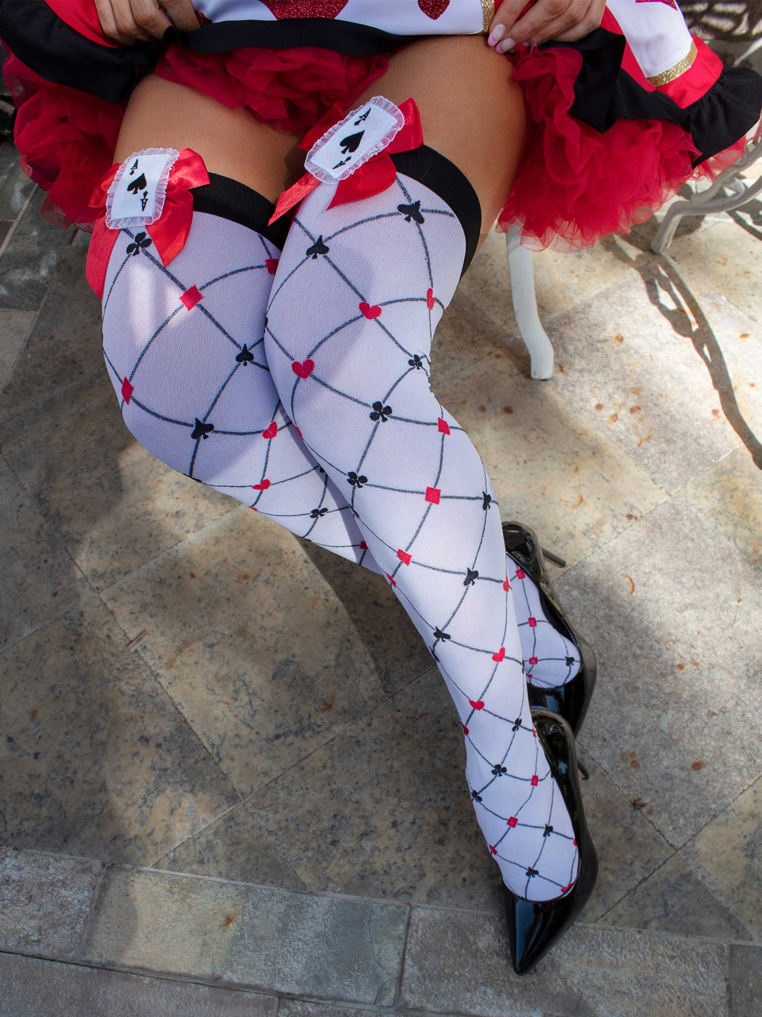 Card Charm Thigh Highs