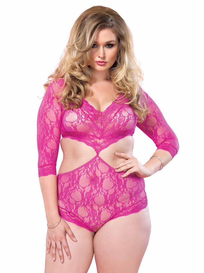 Leg Avenue Womens Plus Size Deep V Lace Cutout Teddy