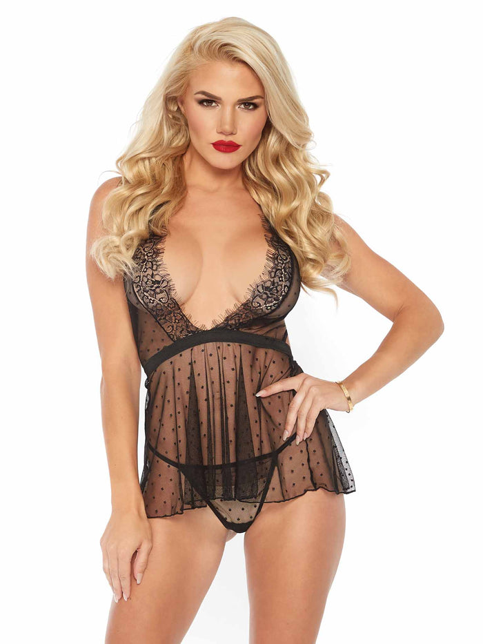 2 PC. Point d'espirit Babydoll and G-String Set