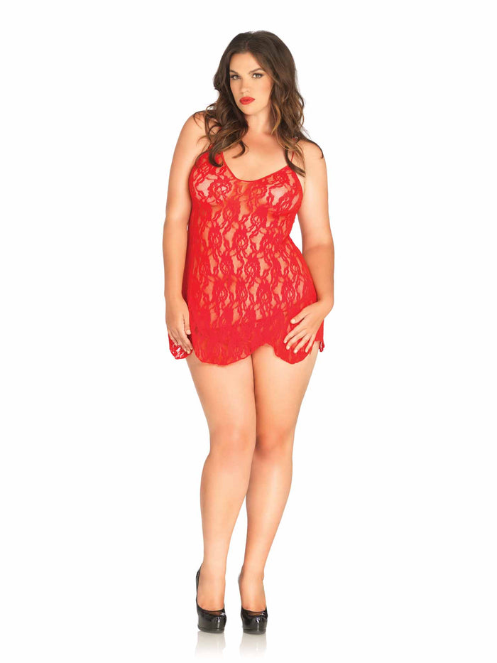 PLUS ROSE LACE FLAIR CHEMISE