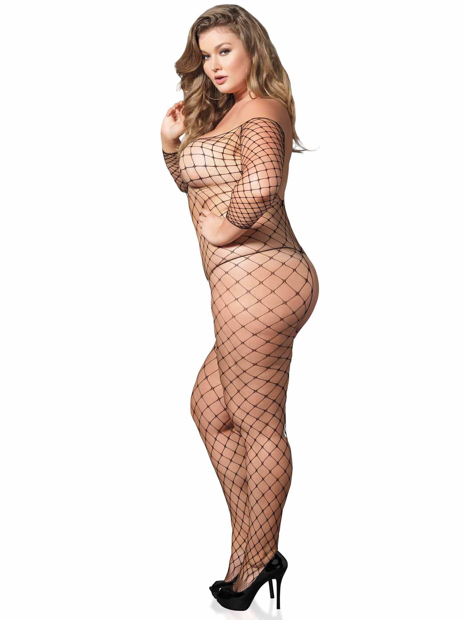 PLUS NET OFF THE SHOULDER BODYSTOCKING