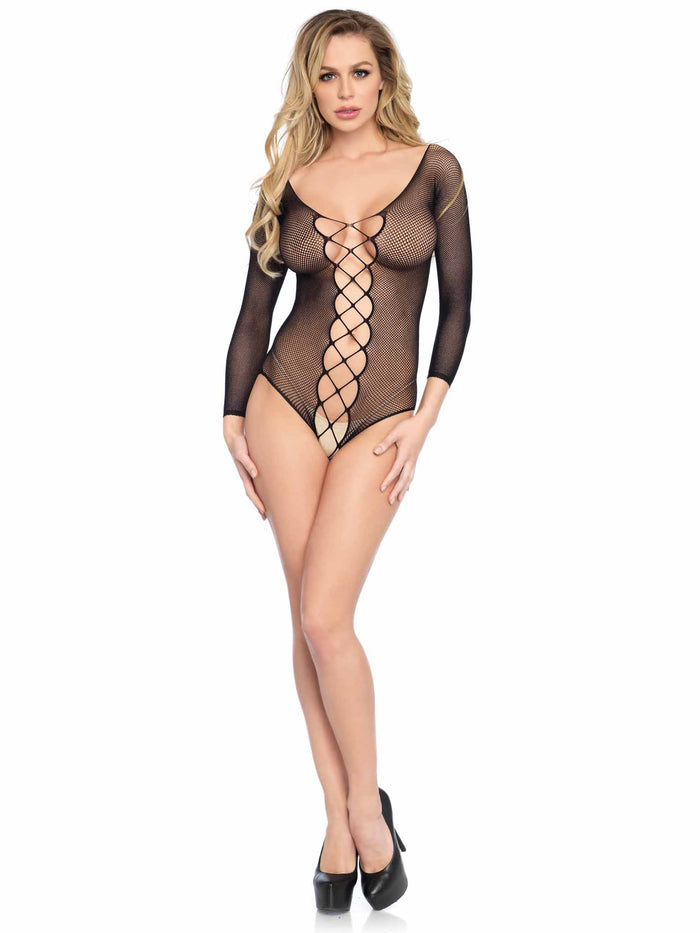 Lace Up Net Teddy