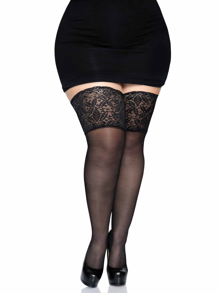 PLUS SIZE STAY UP SHEER THIGH HIGHS