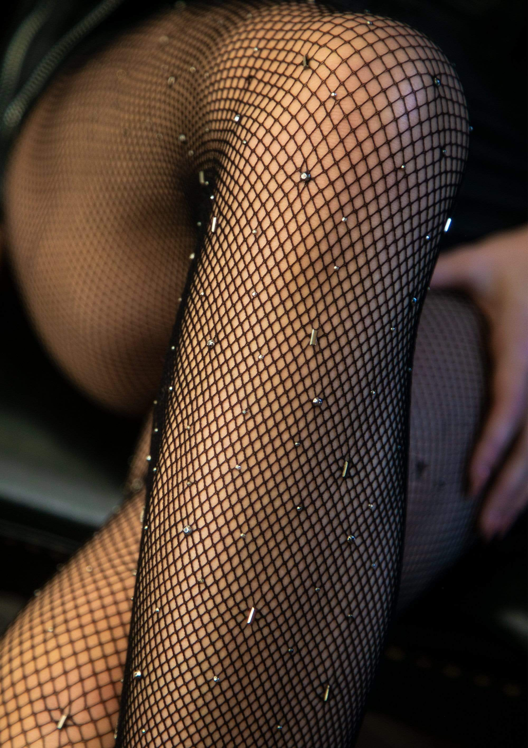 legavenue.com Gunmetal Studded Fishnet Tights