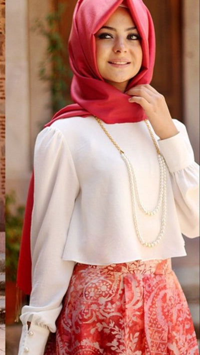Blouse Cream - NisaLife - Buy Fashion Muslim Women Clothing, Hijab, Dress Abaya, Scarf, Shawl, Headscarf