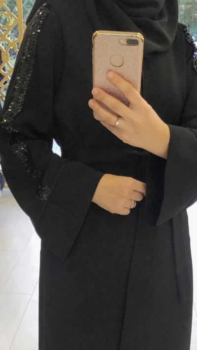 Black Abaya Tinsel - NisaLife - Buy Fashion Muslim Women Clothing, Hijab, Dress Abaya, Scarf, Shawl, Headscarf