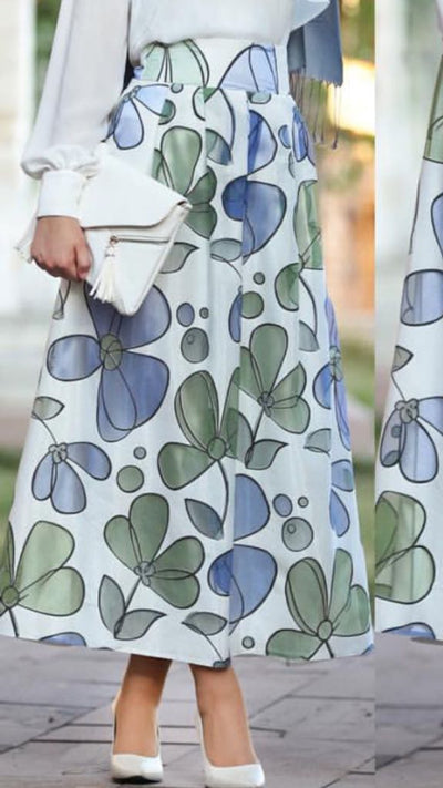 Summer Skirt Green Blue - NisaLife - Buy Fashion Muslim Women Clothing, Hijab, Dress Abaya, Scarf, Shawl, Headscarf