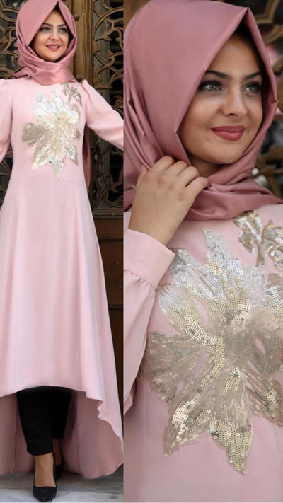 Pink Long Dress - NisaLife - Buy Fashion Muslim Women Clothing, Hijab, Dress Abaya, Scarf, Shawl, Headscarf