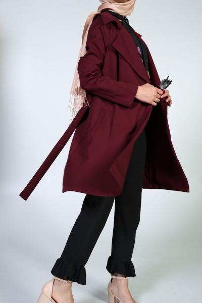 Autumn Peony - Wide Notch Collar - Trench Coat