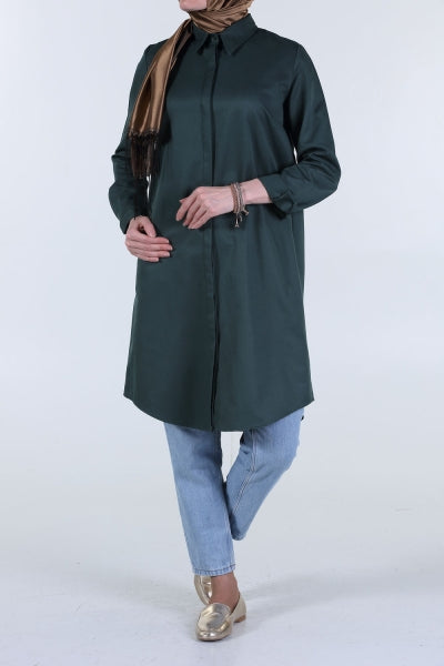 Emerald - Point Collar - Shirt Dress - NisaLife - Buy Fashion Muslim Women Clothing, Hijab, Dress Abaya, Scarf, Shawl, Headscarf