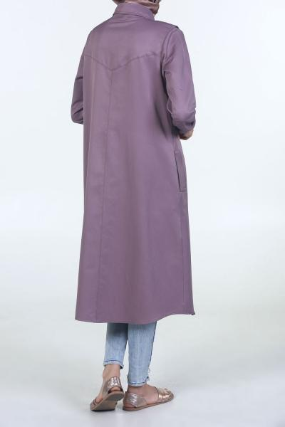 Solid Side-Pocket Long - Shirt Dress - NisaLife - Buy Fashion Muslim Women Clothing, Hijab, Dress Abaya, Scarf, Shawl, Headscarf