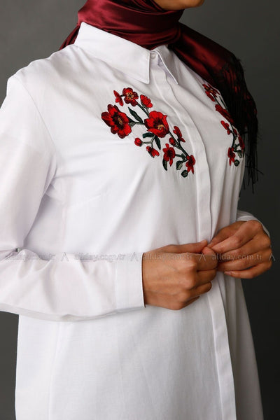 Flower Embroidered - Shirt Dress - NisaLife - Buy Fashion Muslim Women Clothing, Hijab, Dress Abaya, Scarf, Shawl, Headscarf