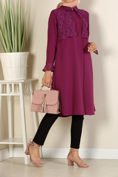 Violet Flower - Lace Yoke -Shirt Dress - NisaLife - Buy Fashion Muslim Women Clothing, Hijab, Dress Abaya, Scarf, Shawl, Headscarf