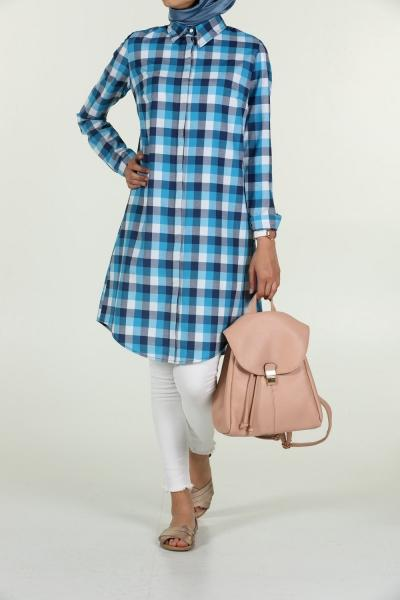 Ocean Plaid Point Collar - Shirt Dress - NisaLife - Buy Fashion Muslim Women Clothing, Hijab, Dress Abaya, Scarf, Shawl, Headscarf